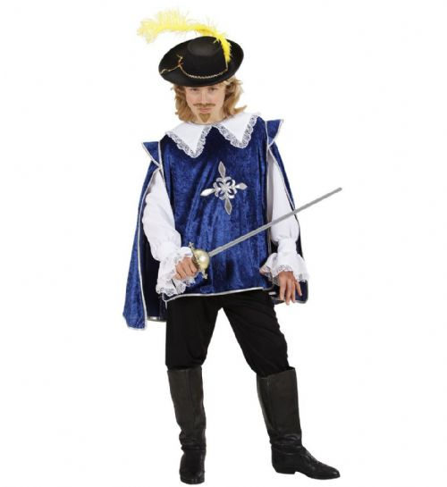 Boys Blue Musketeer Costume Fancy Dress